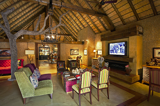Camp Jabulani Main Lodge tv Lounge Fire place Greater Kruger
