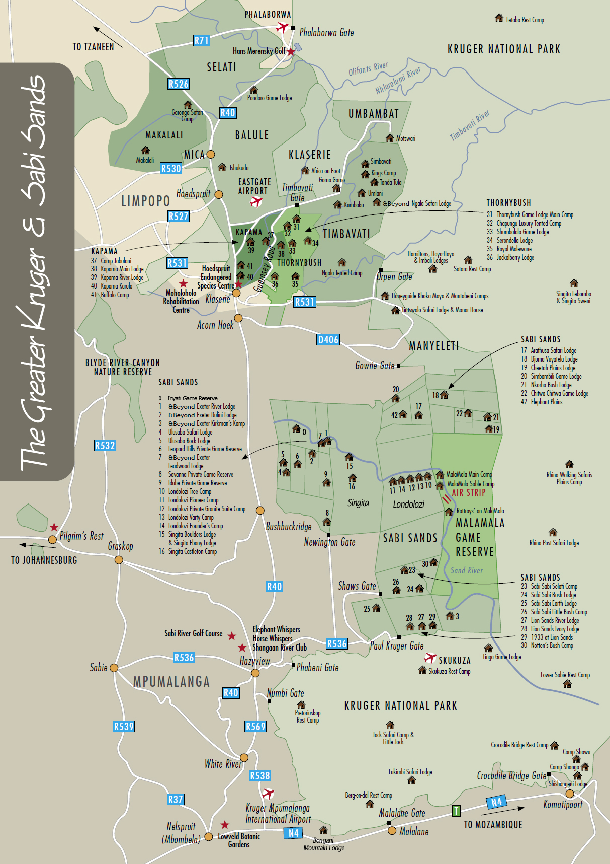 Greater Kruger and Sabi Sands Map  Balule Reserve Map Timbavati